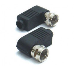 PUDNEY 2 PLUGS - F SOLDERLESS RIGHT ANGLE RG59 COAXIAL WIRE