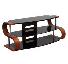"OMP 3 SHELF 32-63"" TV TABLE WALNUT/BLACK GLASS SUMMIT"