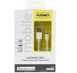 PUDNEY USB A PLUG TO LIGHTNING PLUG 0.5 METRE WHITE