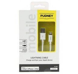 PUDNEY USB A PLUG TO LIGHTNING PLUG 1.8 METRE WHITE
