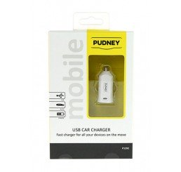 PUDNEY USB CAR CHARGER 5V 2.4A WHITE