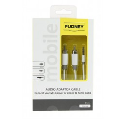 PUDNEY 3.5MM STEREO PLUG TO 2 RCA PLUGS 1 METRE WHITE