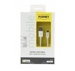 PUDNEY USB A PLUG TO MICRO USB PLUG 1 METRE WHITE
