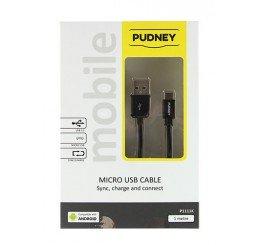 PUDNEY USB A PLUG TO MICRO USB PLUG 1 METRE BLACK