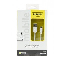 PUDNEY USB A PLUG TO MICRO USB PLUG 2 METRE WHITE