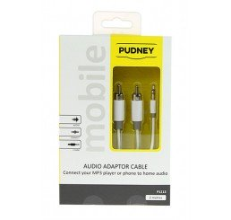 PUDNEY 3.5MM STEREO PLUG TO 2 RCA PLUGS 2 METRE WHITE
