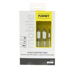 PUDNEY 3.5MM STEREO PLUG TO 2 RCA PLUGS 3 METRE WHITE