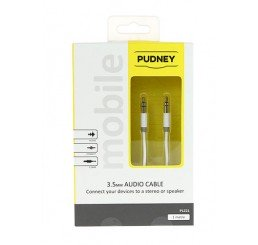 PUDNEY 3.5MM STEREO PLUG TO 3.5MM STEREO PLUG 1 METRE WHITE