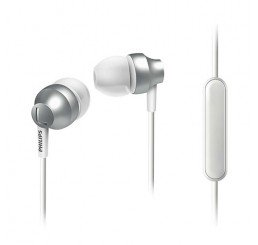 PHILIPS IN EAR CHROMEZ HEADPHONES WITH MIC SILVER METALLIC