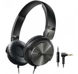 PHILIPS ON EAR DJ STYLE HEADPHONES WITH MIC BLACK